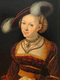 ❤ - LUCAS CRANACH (1472 - 1553) - Weibliche Halbfigur mit Federhut.