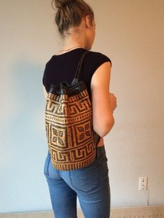 70s rattan and leather vintage mini backpack purse