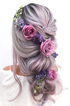 45 Summer Wedding Hairstyles Ideas ❤ summer wedding hairstyles half up half down with curls on pink hair with roses and greenery styles_by_reneemarie Curled Wedding Hair, Bridal Hair Buns, Long Hair Wedding Styles, Bridal Updo, Short Hair Styles, Wedding Hairstyles Half Up Half Down, Wedding Hairstyles For Long Hair, Curled Hairstyles, Beautiful Hairstyles