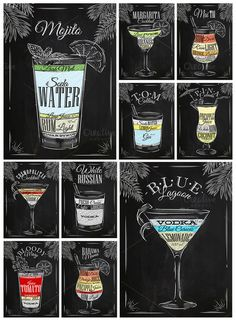 waffles vector Cocktails graphics by Anna on Creative Market Cocktails graphics by Anna on Creative Market Hugo Cocktail, Cocktail Menu, Cocktail Bar Design, Bar Drinks, Alcoholic Drinks, Beverages, Vodka Blue, White Russian, Pub Set