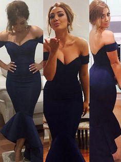 Vianla Sexy Off-shoulder Mermaid Long Prom Dress-Navy Blue Satin Prom Dress