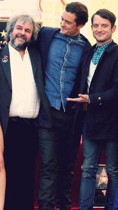 "l-o-t-r: ""Cast Reunion: Orlando, Elijah & Andy all reunite to celebrate Peter Jackson's Hollywood Walk of Fame star (12/8/2014) """