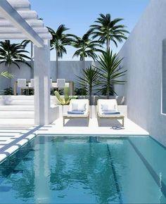 Small Swimming Pools, Small Backyard Pools, Swimming Pool Designs, Outdoor Swimming Pool, Indoor Pools, Small Backyards, Lap Pools, Small Pools, Indoor Outdoor
