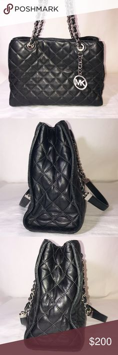 Michael Kors Susanna black quilted leather purse M Michael Kors Susanna black quilted leather purse with silver hardware. Handles are in perfect condition, no tarnishing of hardware.   Excellent used condition! See photos! Rarely ever used. No longer have dust bag. Paid $398 at the Michael Kors store at the Kenwood Mall in Cincinnati. I may have used this purse twice, it's so cute! But too small for what I need. I'm a project manager and need a bigger bag for every day use. Michael Kors Bags…