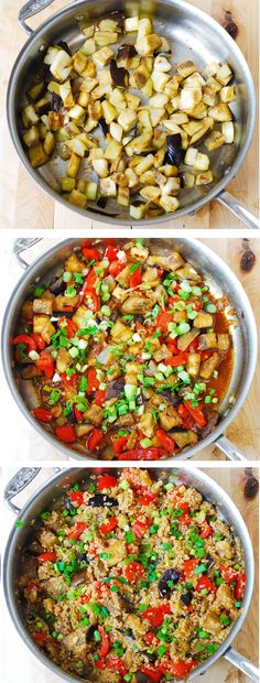 Stir-fried spicy Asian eggplant, with quinoa and veggies. Healthy ingredients, gluten free, vegetarian, low carb, low fat recipe. Delicious! And, it takes just 30 minutes to make! JuliasAlbum.com #quinoa_recipes #Asian_recipes #Asian_food