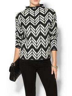 black and white zig zag chevron funnel neck sweater