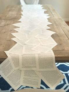 book club decorations -- book page table runner -- paper runner -- table runner -- book table runner -- book club -- book worms -- gummy worms -- book club decor -- book cookies -- custom cookies -- hostess decorations -- host ideas -- Book Exchange Party, Book Crafts, Paper Crafts, Craft Books, Book Club Parties, Book Club Snacks, Deco Table, Grad Parties, Book Themes