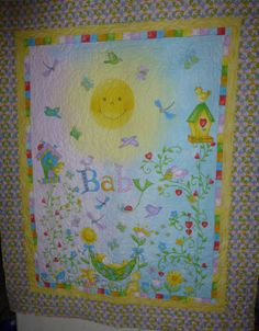 Baby Quilt 45X55 inches Big Sunshine Face by SuesCreatingCottage, $95.00