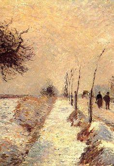 """Camille Pissarro (1830-1903) ~ """"Route à Eragny, Hiver"""", 1885 (Détail) ~ Huile sur Toile"""