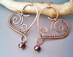 Wire Wrapped Heart Earrings Copper and Violet Quar by bleek70