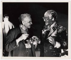 Weegee and Peter Sellers after the famous pie scene on the set of Dr. Strangelove or: How I Learned to Stop Worrying and Love the Bomb in 1963.