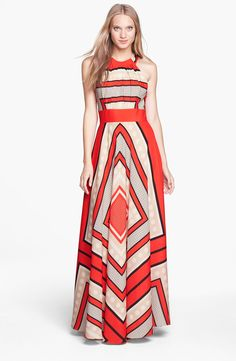 Eliza J Scarf Print Crêpe de Chine Fit & Flare Maxi Dress (Regular & Petite)