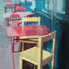 Chairs outside cafe near Boulevard St Germain, Paris, Painting by Julian Sutherland-Beatson | Artfinder