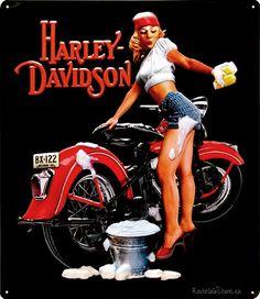 Harley-Davidson+Girls | ... Motorrad Werbung » Harley Davidson Bike Wash Pin Up Girl Metallschild