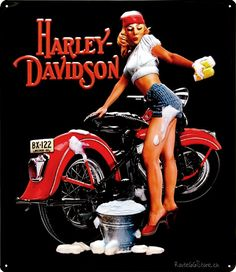 Harley-Davidson+Girls | ... Motorrad Werbung » Harley Davidson Bike Wash Pin Up Girl Metallschild