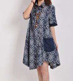 summer loose design Shirt blue and white magnetic blue by dreamyil, $79.00