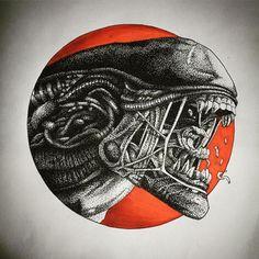 @bartdelgadotattoo ALIEN a puntillismo. Disponible para tattoo. Interesados por MD.#alien #puntillismo #xenomorph #dibujo #tattoodesign #punto #giger