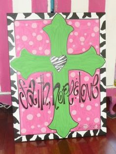 pink and lime green cross canvas