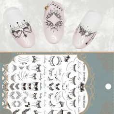 Lace Necklace 3D Nail Art Stickers Black Lace Full Nail Stickers Nail Decals >>> For more information, visit image link.