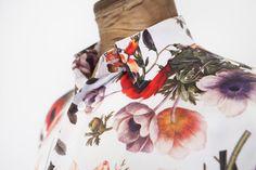Egon Brandstetter Bespoke Tailor, Berlin   #HandStitched #bespoke #shirt with floral pattern made of #silk #satin   #Tailoring #Handmade