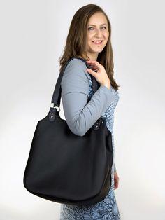 Duża czarna torebka z ekoskóry, torba na zakupy