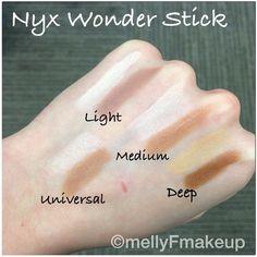 NYX Wonder Stick swatches. Follow my instagram @mellyfmakeup