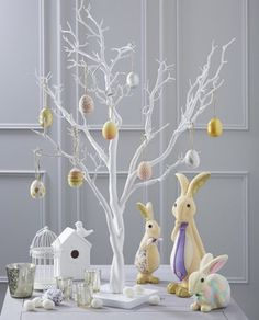 Bring a good mood to every part of your home with these great Easter decorating ideas. Easter tree as decorations are extremely easy to prepare and most White Twig Tree, Hanging Stars, Brindille, Easter Tree, Spring Tree, Tree Crafts, Easter Crafts, Easter Decor, Hobbies And Crafts
