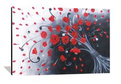 Red Rose Painting Abstract Flower Painting by heatherdaypaintings,