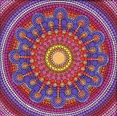 Jewel Drop Mandala by Elspeth McLean #elspethmclean #mandala #jeweldrop #fireycolours #dots #circles #jewel #colourfulart #meditationart