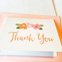 Personalized Thank You Cards | Pink Flowers Thank You Note Cards