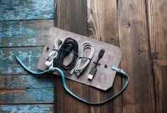 Kabel Ledertasche, Cord Ledertasche, Cord Holder, Kabelhalter, Roll Case, Cord-Veranstalter, Kabel-Organizer, Travel-Halter, Reisetasche