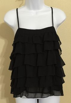 Old Navy Women's Black Ruffle Blouse With Spaghetti Straps Size M NWT #OldNavy #Blouse #Casual