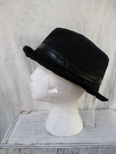 NEW NWT Mens PERRY ELLIS hat prep fedora cap porkpie cotton blend BLACK  EBONY M f0ee135ef91