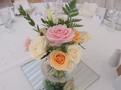 Simply beautiful pastel flowers of roses and foliage.