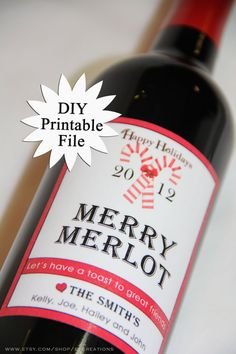 DIY Printable Personalized Holiday Wine Labels by EVCreations