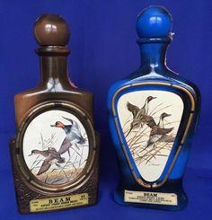 2 Jim Beam Duck Collector Bottles J Lockhart Kentucky Whiskey Decanter Bourbon #JimBeam