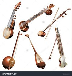 Musical Background Series. Set Of Traditional String Instruments ...
