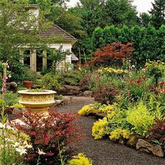 allée de jardin en gravier avec végétation abondante