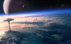 planetary landscape | Backgrounds Planet City Cloud Tower Sci Fi Landscape Space