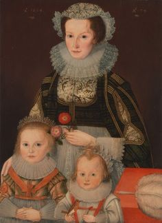 A Lady and Her Two Children by Unknown artist, 17th century, British, 1624