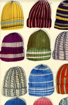 everyday objects make the best art subjects - my boys have lost probably each and every one of these hats.  remember how good it felt to pull them off and scratch your head after playing out in the cold?!?!?