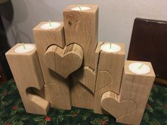 Candles with heart - oak
