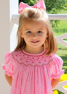 Shannon Latham at Little English reports big sales of the pretty Petite Roses Bishop Dress months to Toddler Girl Outfits, Toddler Dress, Baby Dress, Kids Outfits, Pink Dress, Smocked Baby Clothes, Smocked Dresses For Toddlers, Designer Childrenswear, Fashion Design For Kids