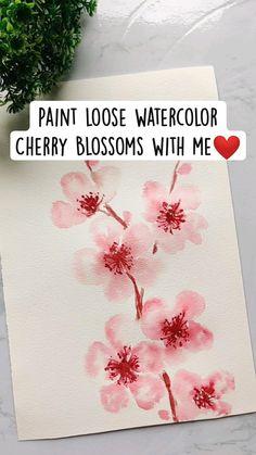 Flower Art Drawing, Flower Drawing Tutorials, Watercolor Art Lessons, Simple Watercolor Paintings, Watercolour, How To Paint Flowers, Painted Flowers, Watercolor Flowers Tutorial, Art Painting Gallery