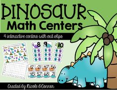 Fun, interactive dinosaur-themed math centers! Skills include graphing, ordering numbers, addition/subtraction, and more!