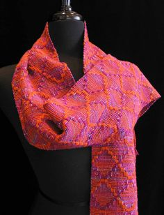Handwoven Scarf Wool Cotton Rayon Handmade Scarf by FiberFusion, $98.00