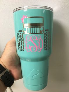 "DIY your photo charms, compatible with Pandora bracelets. Make your gifts special. Make your life special! Yeti cups Rtic cups Ozark cups Tumblers by ""The Shed Powder Coating"" Jeep Life Jeep Girl Decals For Yeti Cups, Yeti Decals, Yeti Cup Decal, Girls Tumbler, Tumbler Cups, Vinyl Tumblers, Custom Tumblers, Glitter Cups, Glitter Tumblers"