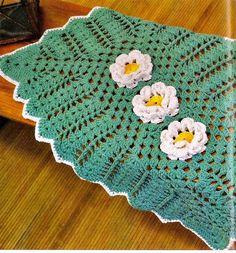 tapete croche verde cor flores em croche com receita