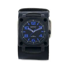 Nemesis Men's KIN76L Signature Blue SQDrive Leather Cuff Band Watch Nemesis. $82.95. Quartz movement. Water-resistant to 330 feet (100 M). Durable mineral crystal protects watch from scratches. Stainless steel case. Case diameter: 46 mm