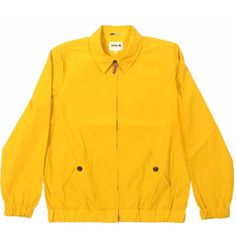 Sunshine Yellow Santana Jacket ($35) ❤ liked on Polyvore featuring men's fashion, men's clothing, men's outerwear, men's jackets, jackets, outerwear, yellow, mens leather flight jacket, mens summer jackets and mens light weight jackets